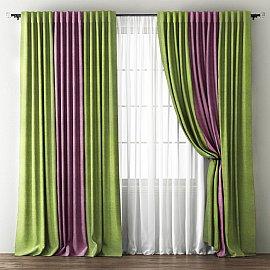 Комплект штор Кирстен, зеленый, фиолетовый, 170*270 см