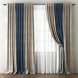 Комплект штор Кирстен, бежево-коричневый, синий, 240*270 см
