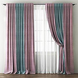 Комплект штор Кирстен, розовый, голубой, 170*270 см