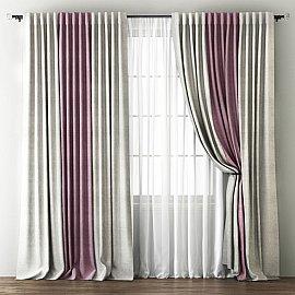 Комплект штор Кирстен, кремовый, розовый, 170*270 см