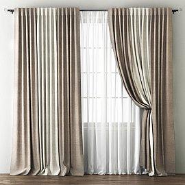 Комплект штор Кирстен, бежево-коричневый, кремовый, 240*270 см
