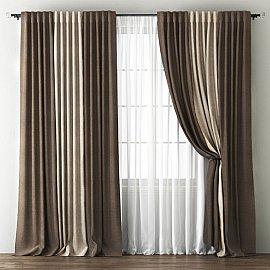 Комплект штор Кирстен, шоколадный, бежево-коричневый, 170*270 см