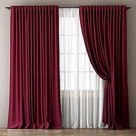 Комплект штор Омма, бордовый, 170*270 см