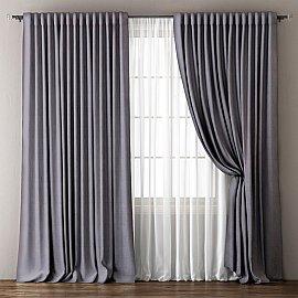 Комплект штор Омма, серый, 240*270 см