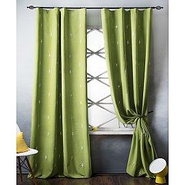 Комплект штор с вышивкой Флэш, зеленый, 145*280 см