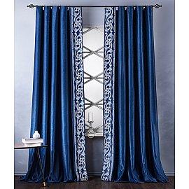 Комплект штор с вышивкой Валери, синий, 200*270 см