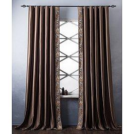 Комплект штор с вышивкой Шарлиз, коричневый, 200*280 см