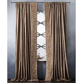 Комплект штор с вышивкой Лея, коричневый, 200*280 см