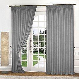 Комплект портьер блэкаут-лен B502-5, серый, 150*240 см