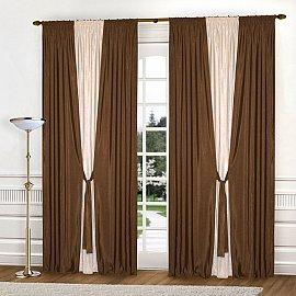 Комплект штор К304-2, коричневый, светло-бежевый, 240*240 см