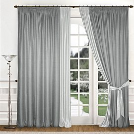 Комплект штор К312-4, серый, 180*260 см