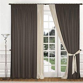 Комплект штор К312-6, шоколадный, кремовый, 180*270 см