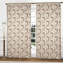 Комплект штор К331-3, крем, коричневый, 300*260 см