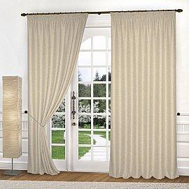 Комплект штор лен-рогожка K334-4, кремовый, 250*250 см