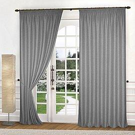 Комплект штор лен-рогожка K334-5, серый, 150*240 см