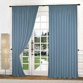 Комплект штор лен-рогожка K334-6, синий, 150*270 см