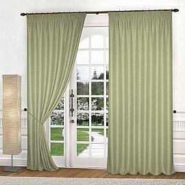 Комплект штор лен-рогожка K334-8, оливковый, 150*240 см