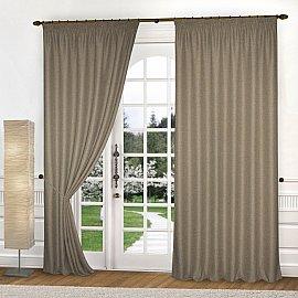 Комплект портьер блэкаут-рогожка B504-2, серо-коричневый, 200*270 см