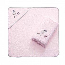 Набор детских махровых полотенец Arya Summer (75*75; 70*140), розовый