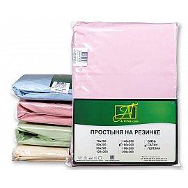 Простынь Сатин без резинки, розовый, 220*280 см