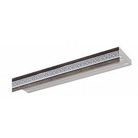 """Карниз потолочный пластиковый без поворота """"Акант"""", 3 ряда, серебро антик, 240 см"""