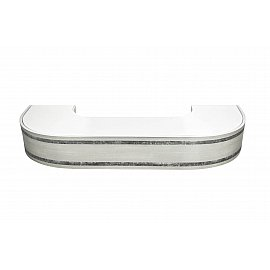 """Карниз потолочный пластиковый поворотный """"Бленда Меланж"""", серебро, 3 ряда, 280 см"""