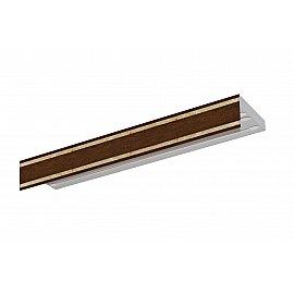 """Карниз потолочный пластиковый без поворота """"Бленда Меланж"""", венге, 3 ряда, 380 см"""