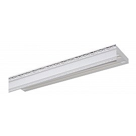 """Карниз потолочный пластиковый без поворота """"Гранд"""", 3 ряда, серебро, 320 см"""