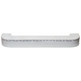 """Карниз потолочный пластиковый поворотный """"Гранд"""", 3 ряда, белый хром, 340 см"""