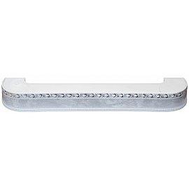 """Карниз потолочный пластиковый поворотный """"Гранд"""", 2 ряда, мрамор хром, 140 см"""