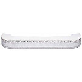 """Карниз потолочный пластиковый поворотный """"Гранд"""", 3 ряда, серебро, 300 см"""