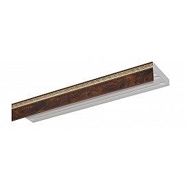 """Карниз потолочный пластиковый без поворота """"Греция"""", 3 ряда, коричневый, 200 см"""