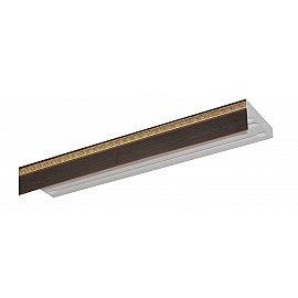 """Карниз потолочный пластиковый без поворота """"Греция"""", 3 ряда, венге, 300 см"""