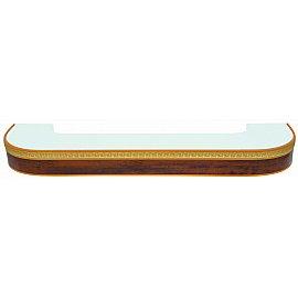 """Карниз потолочный пластиковый поворотный """"Греция"""", 2 ряда, орех бежевый, 360 см"""