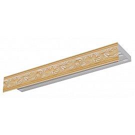 """Карниз потолочный пластиковый без поворота """"Овация 3D"""", 3 ряда, слоновая кость, 160 см"""