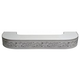 """Карниз потолочный пластиковый поворотный """"Овация 3D"""", 3 ряда, белый хром, 380 см"""