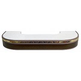 """Карниз потолочный пластиковый поворотный """"Валенсия"""", 3 ряда, венге, 220 см"""