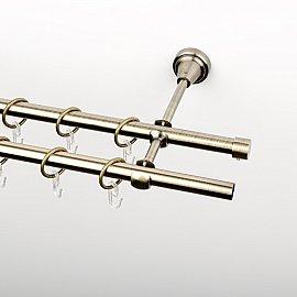 Карниз металлический стыкованный, 2-рядный, золото антик, гладкая труба, 320 см, ø 16 мм