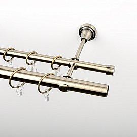 Карниз металлический стыкованный, 2-рядный, золото антик, гладкая труба, 300 см, ø 16 мм, ø 25 мм
