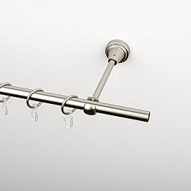 Карниз металлический стыкованный, 1-рядный, хром матовый, гладкая труба, 300 см, ø 16 мм