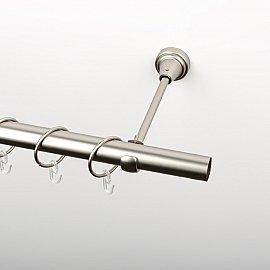Карниз металлический стыкованный, 1-рядный, хром матовый, гладкая труба, 280 см, ø 25 мм