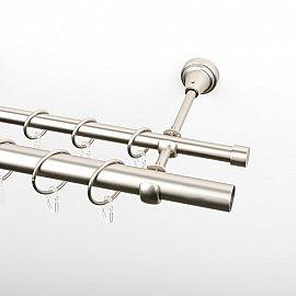 Карниз металлический стыкованный, 2-рядный, хром матовый, гладкая труба, 240 см, ø 16 мм, ø 25 мм