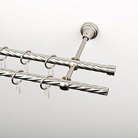 Карниз металлический стыкованный, 2-рядный, хром матовый, крученая труба, 200 см, ø 16 мм