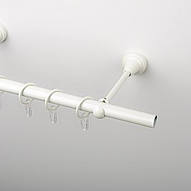 Карниз металлический стыкованный, 1-рядный, белый пиано, гладкая труба, 300 см, ø 19 мм