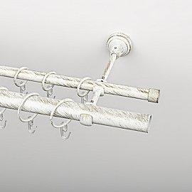 Карниз металлический стыкованный, 2-рядный, белое золото, гладкая труба, 240 см, ø 16 мм, ø 25 мм