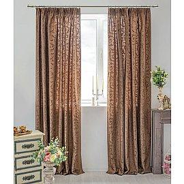 Комплект штор Fantezi-008, коричневый, 250 см