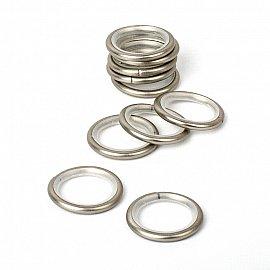 Комплект колец бесшумных с круглым сечением для металлического карниза, хром матовый, №10, диаметр 25 мм