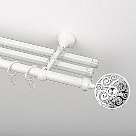 """Карниз металлический стыкованный с U-шинами и наконечниками """"Вега"""", 3-рядный, белый пиано, гладкая труба, ø 19 мм"""