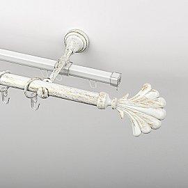 """Карниз металлический стыкованный c наконечниками """"Морена"""", 2-рядный, белое золото, гладкая труба, ø 19 мм"""