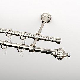 """Карниз металлический стыкованный, 2-рядный """"Тай"""", хром матовый, крученая труба, ø 16 мм"""